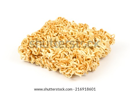 Image of instant noodles on white background - stock photo