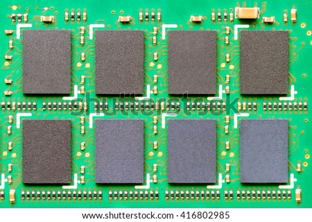 image of integrated circuits and surface mount technology - stock photo