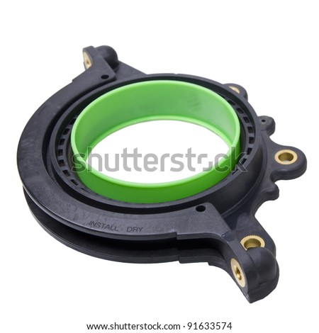 image of integrated rotary shaft seal with application tool  on white background - stock photo