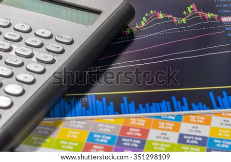 Image of Investment management, Calculator place on Stock chart.