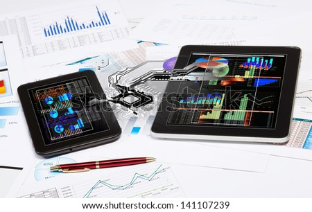 Image of ipad and tablet pc with diagrams illustration - stock photo