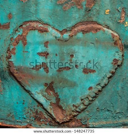 Image of iron heart , Heart on rusty steel. - stock photo