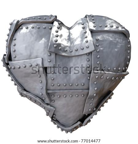 Image of iron heart on white background - stock photo