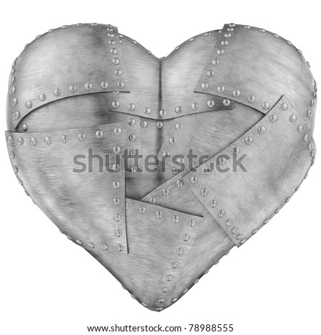 Image of iron heart on white background - stock photo