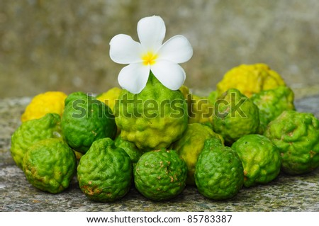 image of Kaffir Lime on the stone table - stock photo