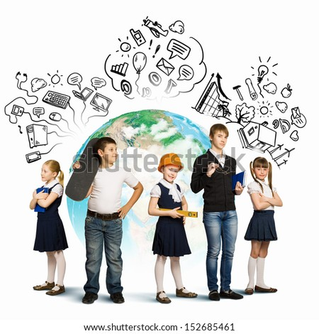 Image of kids of school age. Choosing profession. Elements of this image are furnished by NASA - stock photo