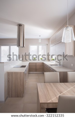 Image of kitchen room with new design ventilation hood