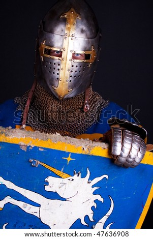 Image of knight holding his shield