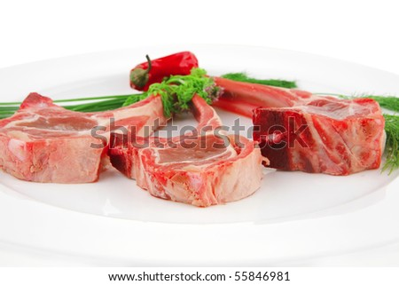 image of lamb uncooked ribs on plate