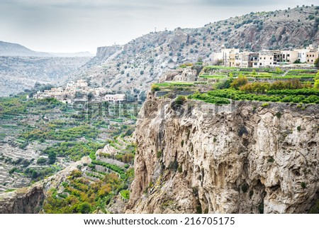 Image of landscape Saiq Plateau and terrace cultivation in Oman - stock photo
