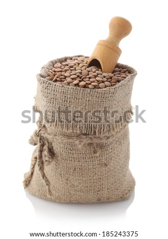 Image of lentils in the textile bag on white background isolate