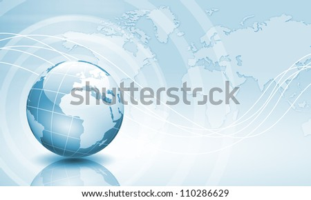 Image of light blue planet Earth against technology background
