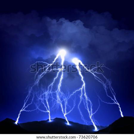 image of lightning on a dark blue background - stock photo