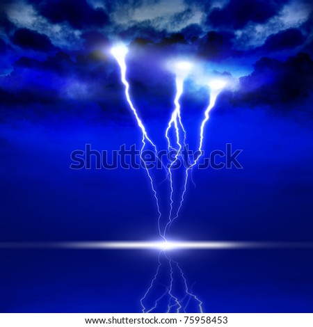 image of lightning on a dark blue background - stock photo