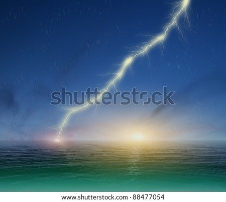 image of lightning on a dark blue sky background - stock photo