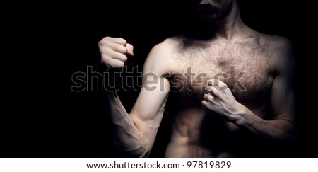 Image of lightweight fighter - stock photo