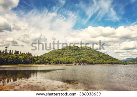 Image of Loch (lake) Fyne in the Scottish highlands, view from the village of Inveraray. - stock photo