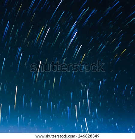 image of Long exposure star trails . - stock photo