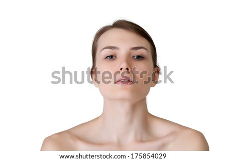 Image of lovely caucasian girl looking at camera - stock photo