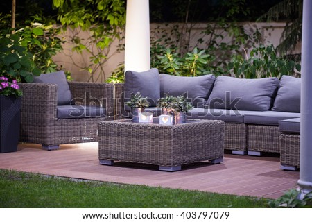 Image of luxurious simple rattan garden furnitures - stock photo