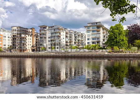 Image of luxury apartments by the river. Halmstad, Sweden.  - stock photo