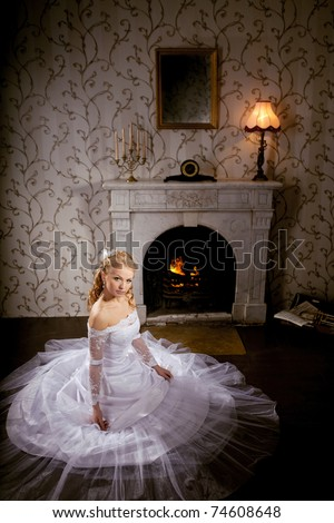Image of luxury bride on a bright background - stock photo
