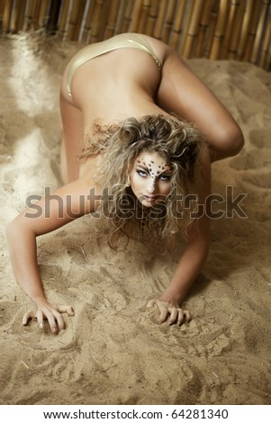 Image of luxury girl, like a leopard - stock photo