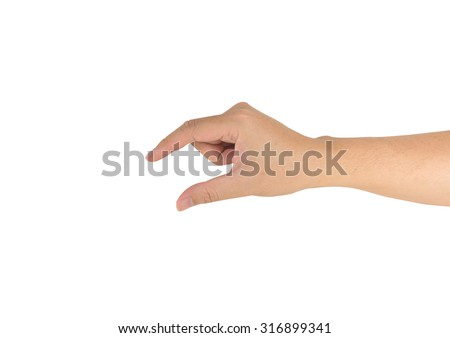 image of male hand holding some like a blank object isolated on a white background . - stock photo