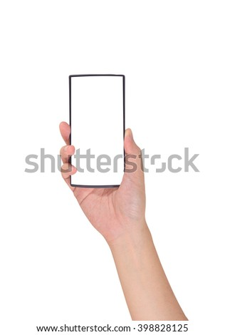 image of male hand is holding a modern touch screen smart phone. Screen is cut with clipping path (white color) - stock photo