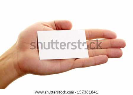 Image of male hand with blank visiting card in isolation