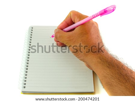 Image of male hand with pen over open notebook - stock photo