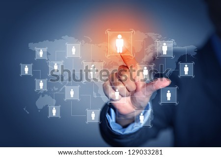 Image of male touching virtual icon of social network