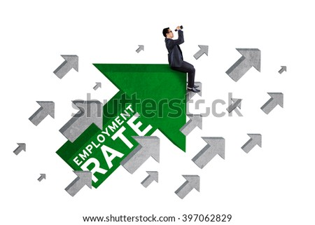 Image of male worker sitting on upward arrow with an employment rate text and using binoculars - stock photo