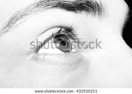 Image of man's  eye close up. - stock photo