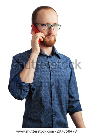 Image of man talking by his smartphone isolated on white - stock photo