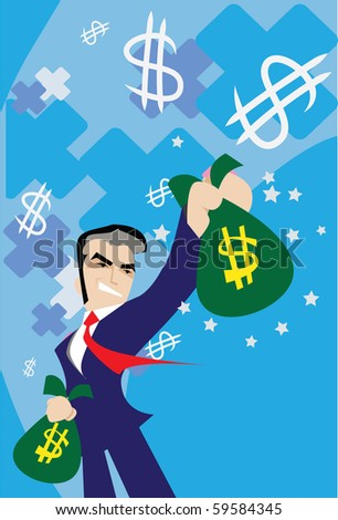 Image of man who is  standingand holding money bags in his hands.