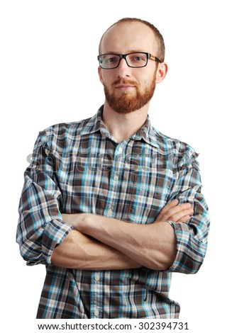 Image of man with red beard in glasses posing isolated on white background - stock photo
