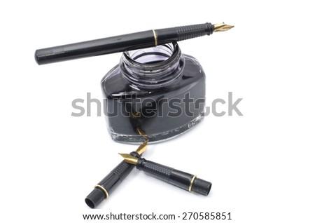 image of manuscript pen with three extra nibs isolated white background - stock photo