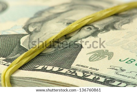 image of many dollars on closeup