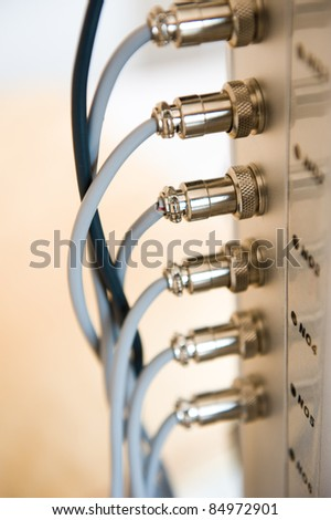 Image of many electrical wires in blue tone. - stock photo