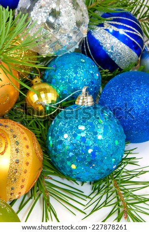 image of many of Christmas tree decorations on a white background closeup - stock photo