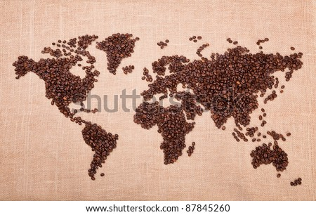 Image of map made of coffee grains - stock photo