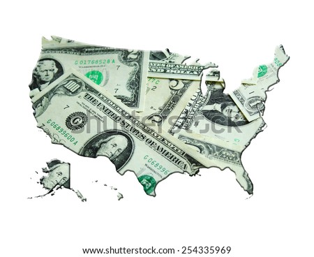 image of map of United States of America made from dollars - stock photo