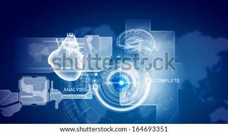 Image of media screen with icons. Innovative technologies - stock photo