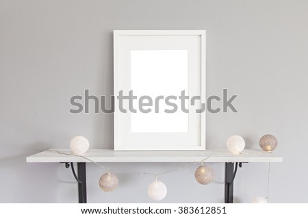 Image of mockup scene with white frame and baubles. - stock photo