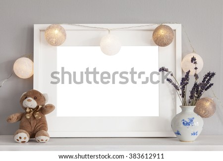 Image of mockup scene with white frame and decorative items.  - stock photo