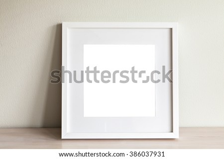 Image of mockup scene with white square frame.  - stock photo