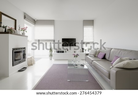 image of modern living room with taupe sofa - stock photo