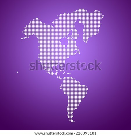 Image of modern North and South America dotted map - stock photo