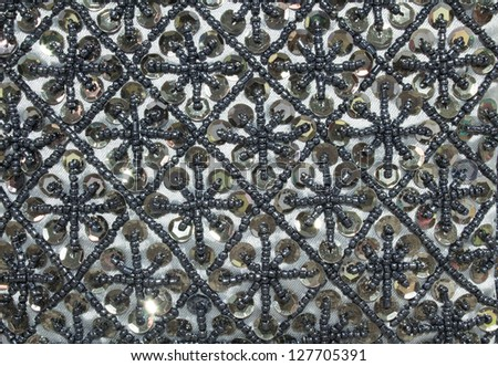 image of monochrome Arabic floral seamless pattern - background for continuous - stock photo
